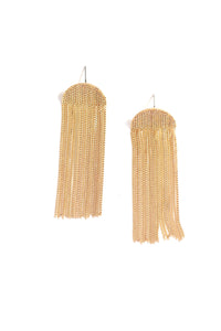 Half Moon Metal Fringed Post Earrings - Gold