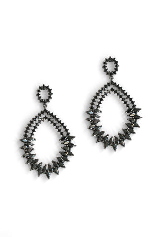 Crystal Encrusted Drop Earrings - Black