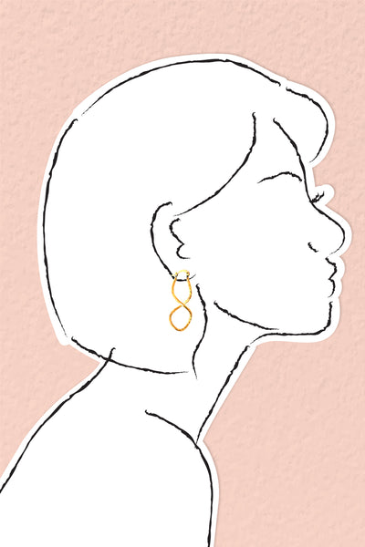 Swirly Hoop Earrings - Gold
