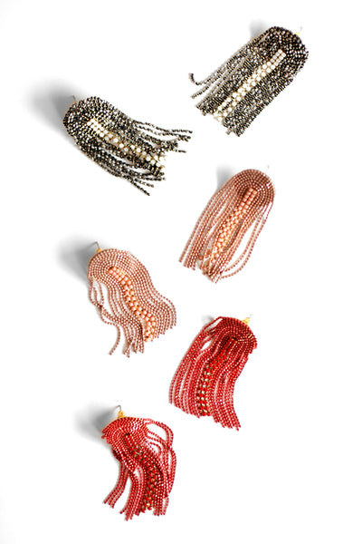 Fringe Drop Post Earrings - Red