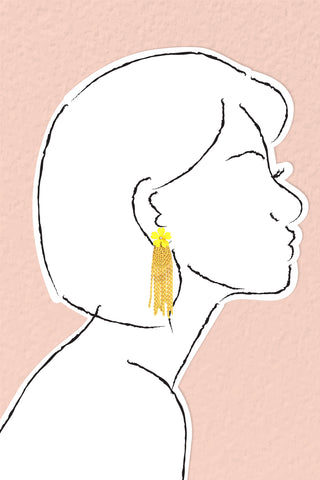 Flower and Chain Earrings - Yellow