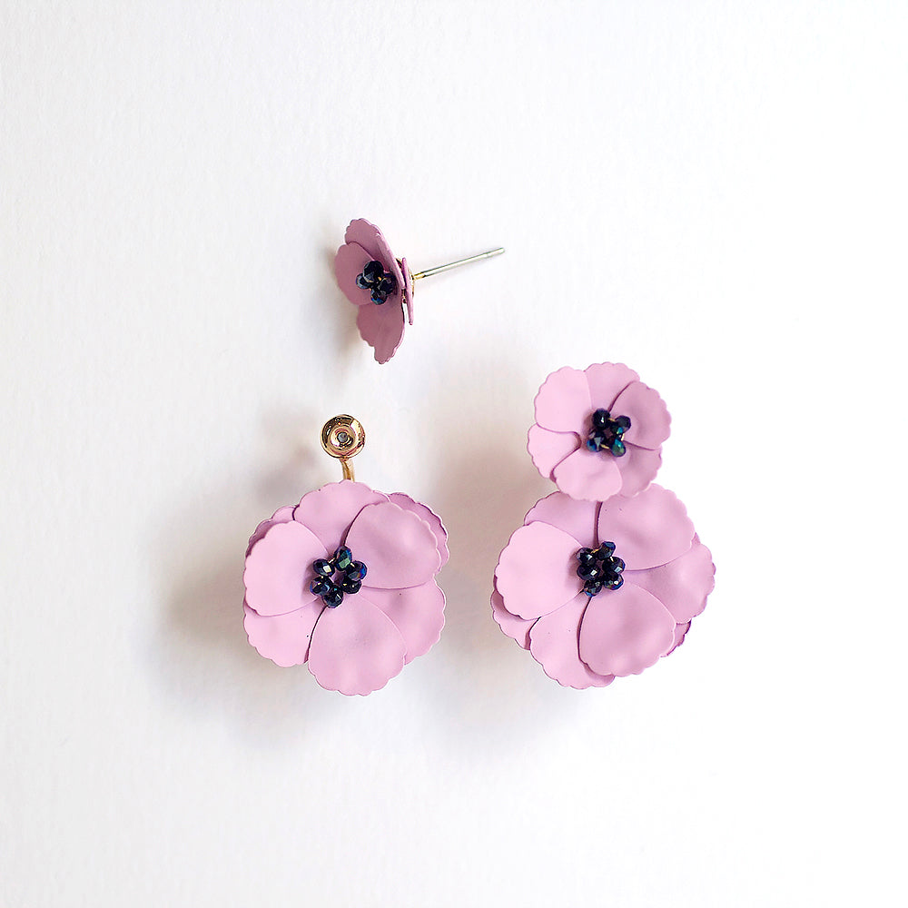 Poppy Front Back Earrings - Blush