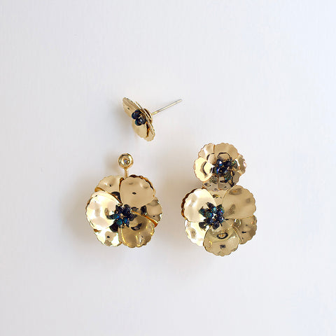 Convertible Front Back Poppy Earrings - Gold