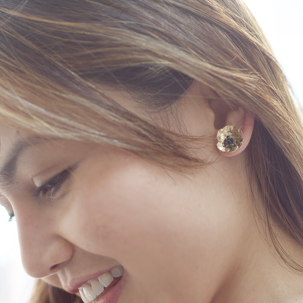 Poppy Front Back Earrings - Gold