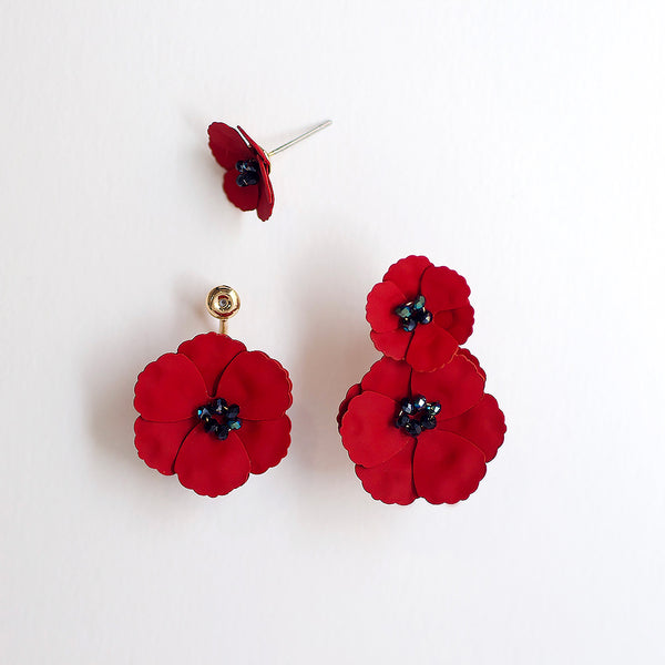 Poppy Front Back Earrings - Red