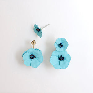 Convertible Front Back Poppy Earrings - Turquoise