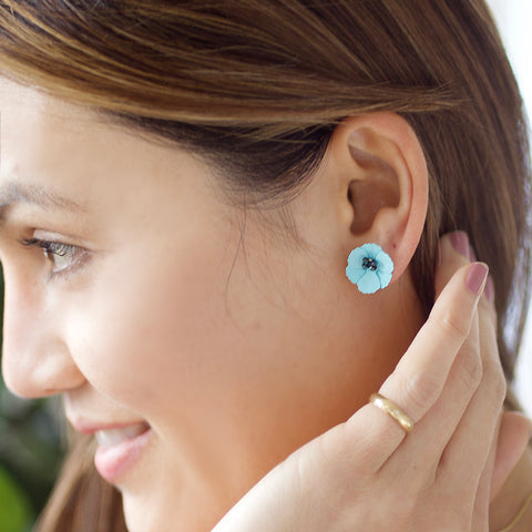 Poppy Front Back Earrings - Turquoise