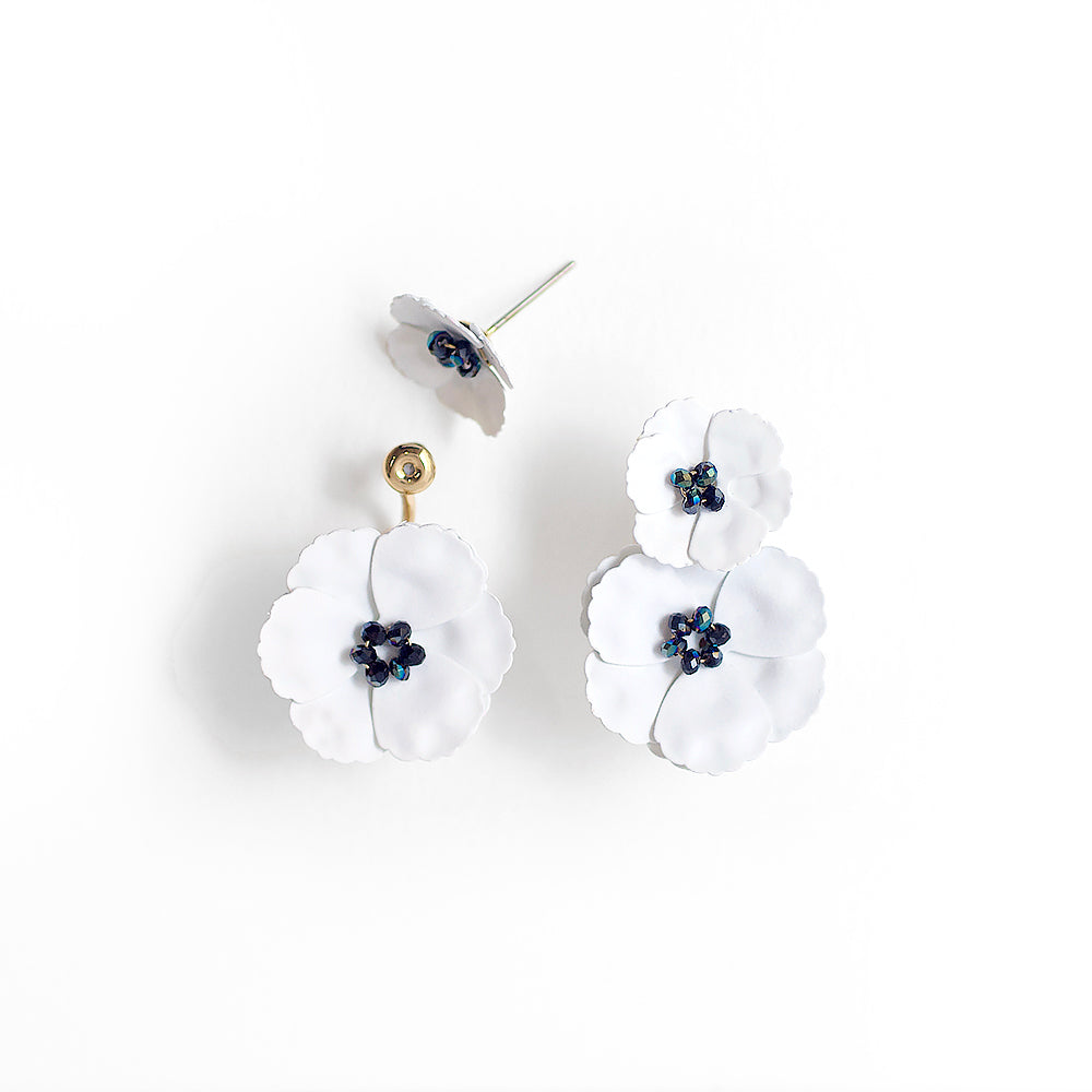 Poppy Front Back Earrings - White