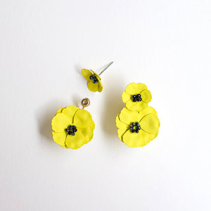 Convertible Front Back Poppy Earrings - Yellow