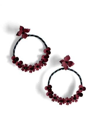 Flower Hoop Post Earrings - Purple