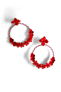 Flower Hoop Post Earrings - Red