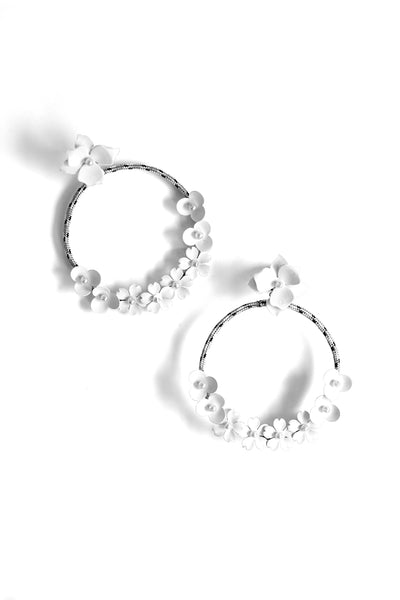 Flower Hoop Post Earrings - White