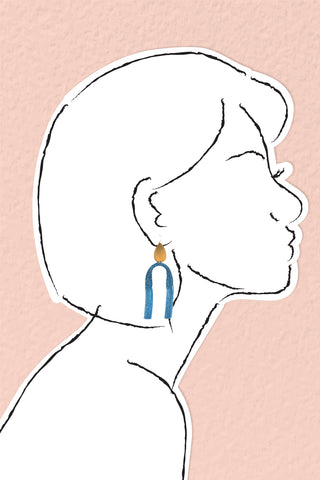 Upside Down Fringe Earrings - Blue