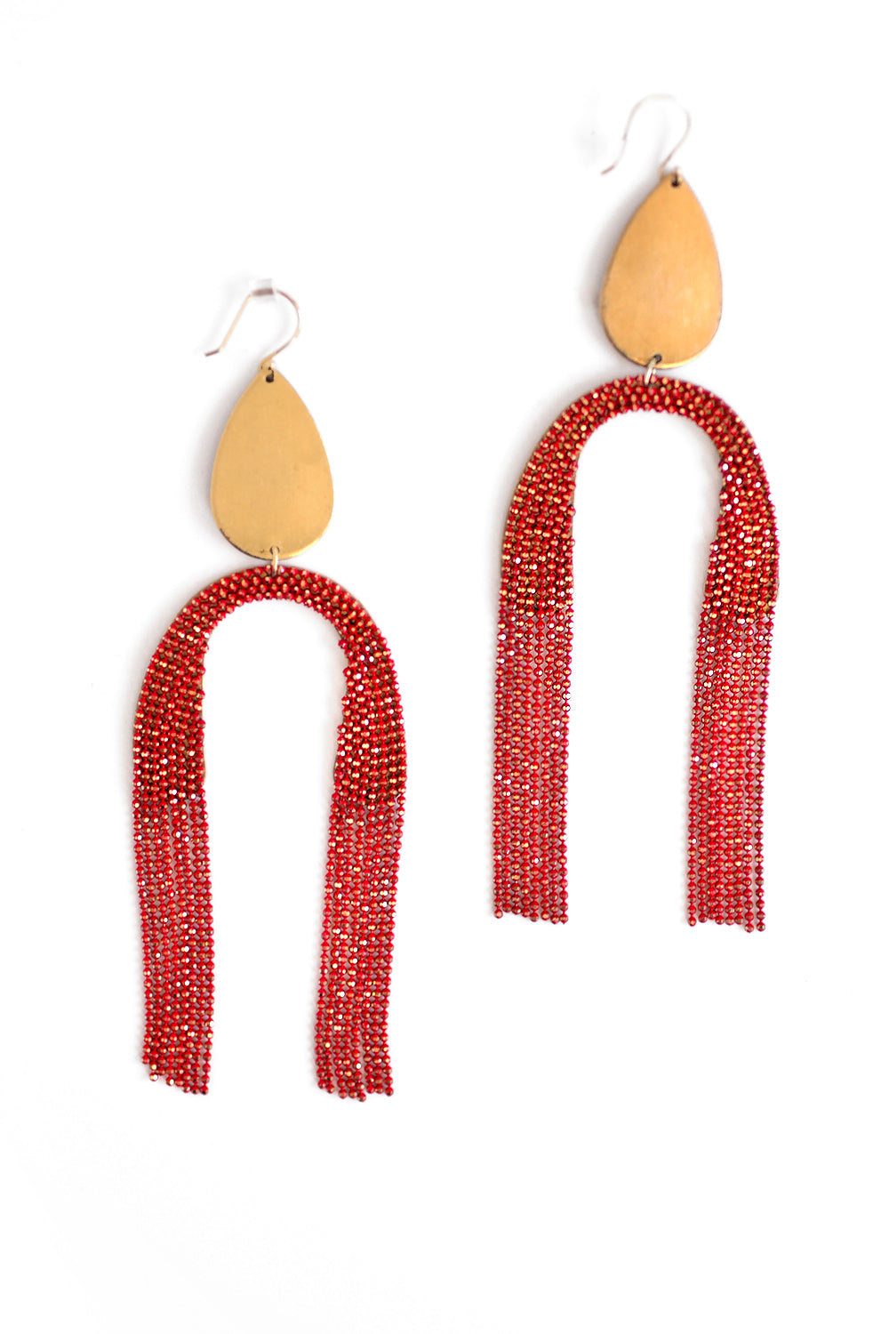 Upside Down Fringe Earrings - Red