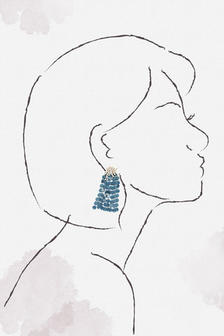 Sequin Waterfall Earrings - Blue