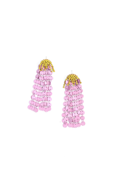 Sequin Waterfall Earrings - Lilac