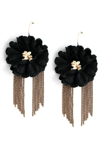 Fabric Flower Drop Earrings - Black