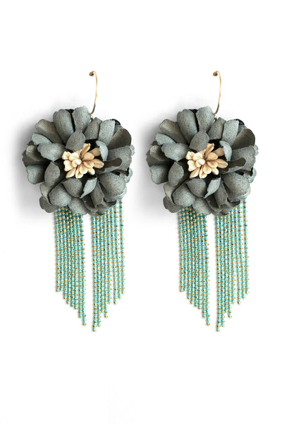 Fabric Flower Drop Earrings - Mint