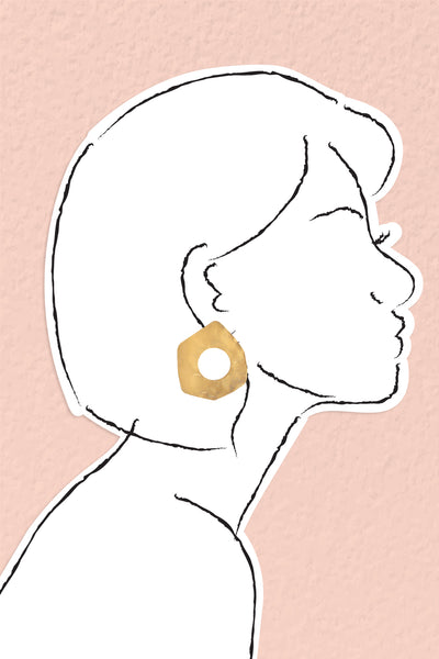 Hammered Donut Post Earrings - Gold