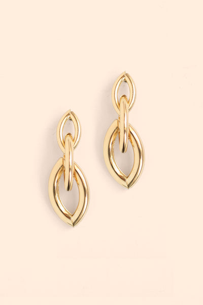 Triple Link Drop Earrings - Gold