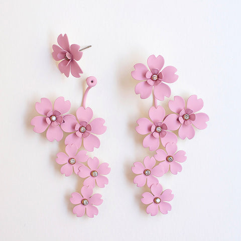 Cherry Blossom Front Back Statement Earrings - Blush