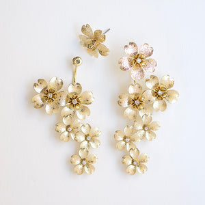 Cherry Blossom Front Back Statement Earrings - Gold