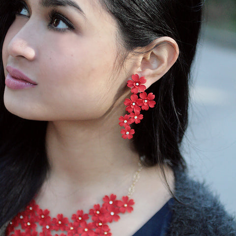 Cherry Blossom Front Back Statement Earrings - Red