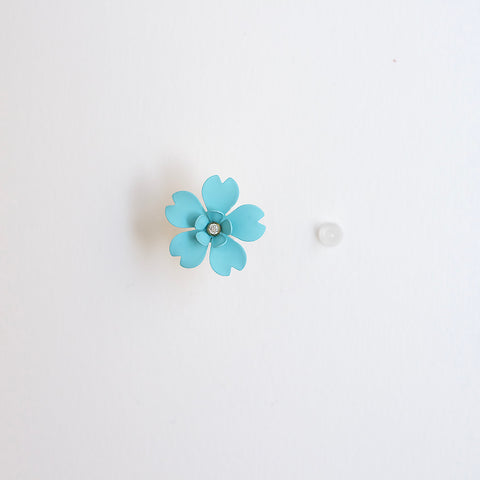 Cherry Blossom Front Back Statement Earrings - Turquoise