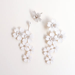 Cherry Blossom Front Back Statement Earrings - White