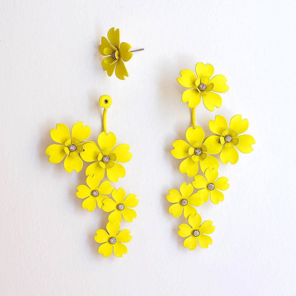 Cherry Blossom Front Back Statement Earrings - Yellow