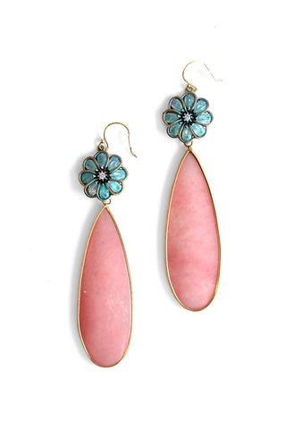 Petal Play Drop Earrings - Coral