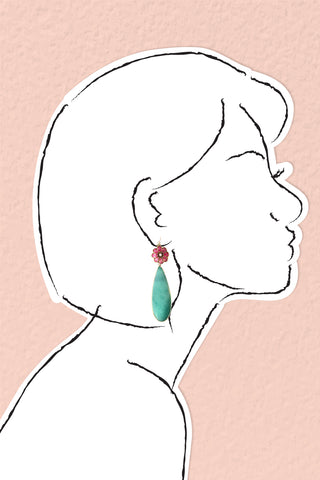 Petal Play Drop Earrings - Green