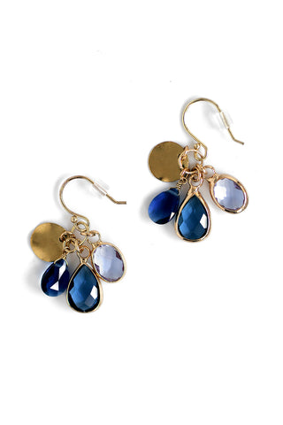 Crystal Drop Earrings - Navy