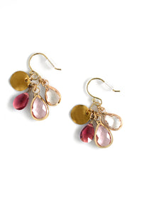 Crystal Drop Earrings - Rose