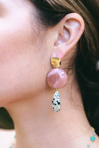 Double Drop Stone Earrings - Moonstone