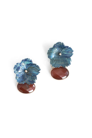 Semi Precious Floral Stone Drop Earrings - Blue