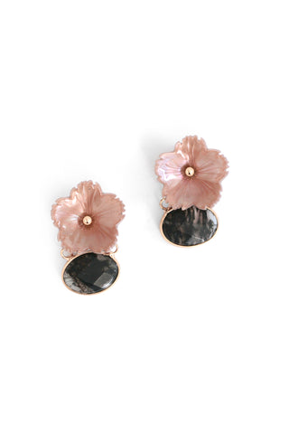 Semi Precious Floral Stone Drop Earrings - Blush