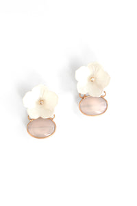 Semi Precious Floral Stone Drop Earrings - White
