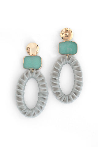 Velvet Drop Earrings - Grey