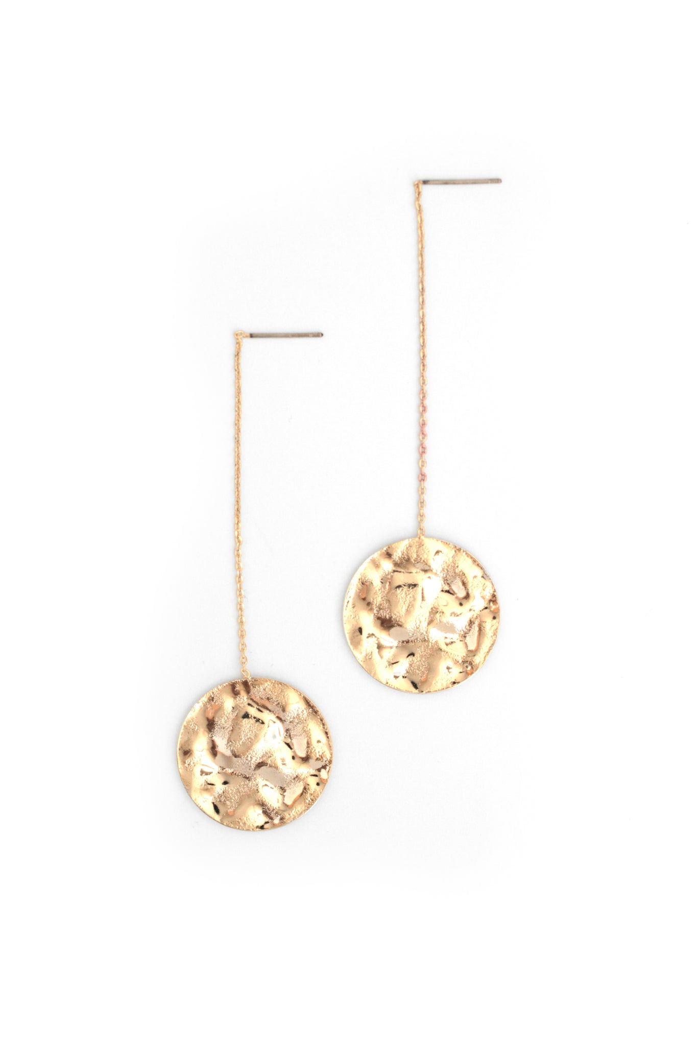 Disk Threader Earrings - Gold