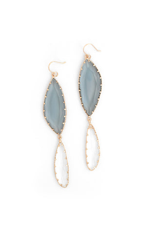 Duo Drop Earrings - Grey