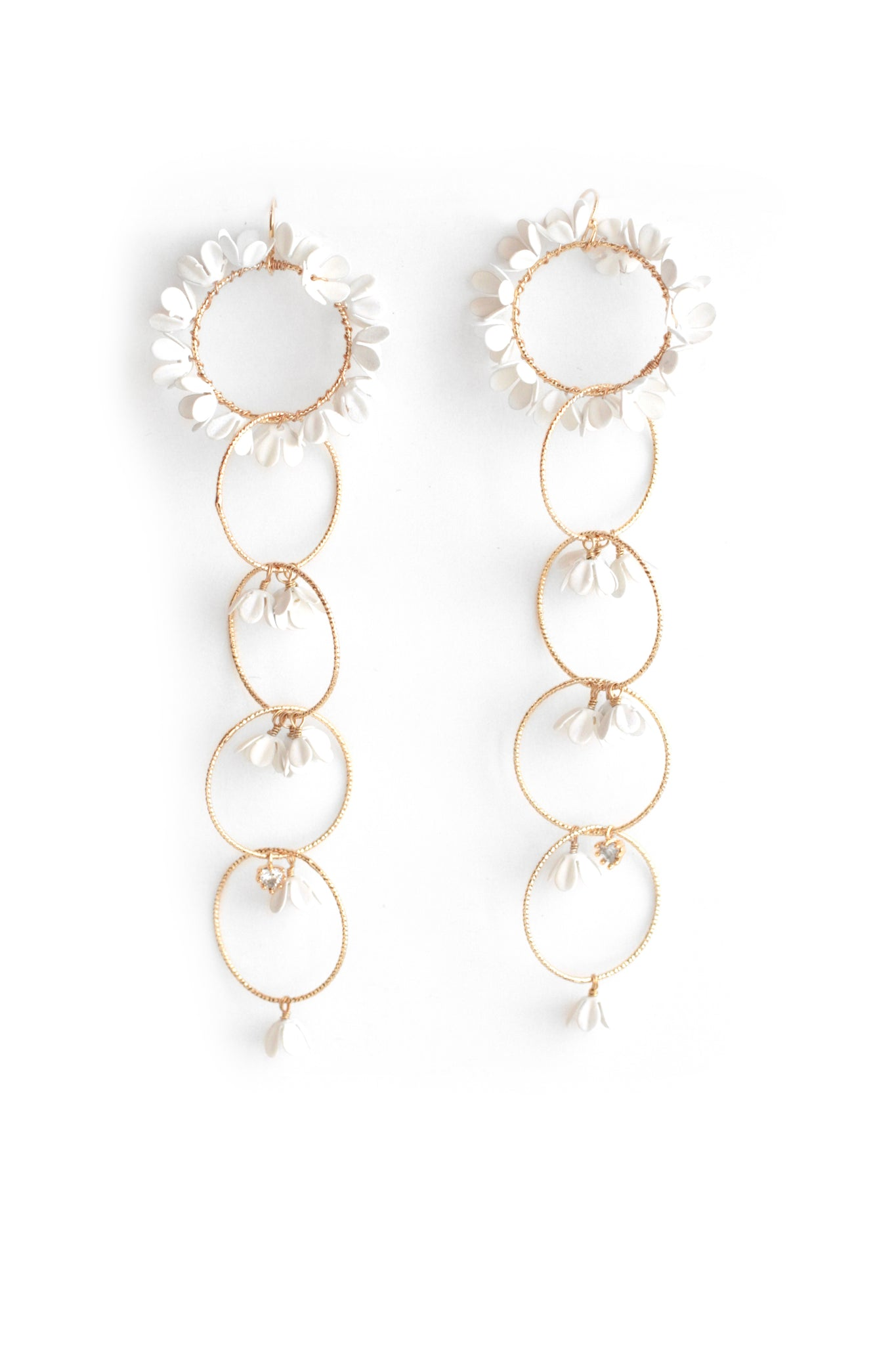 Floral Circlet Drop Earrings - White