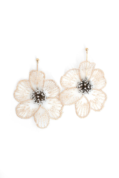 Cynthia Floral Drop Earrings - Cream
