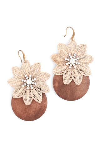 Wooden Blooms Drop Earrings - Cream