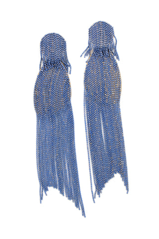 Enamel Tassel Drop Earrings - Blue