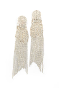 Enamel Tassel Drop Earrings - White