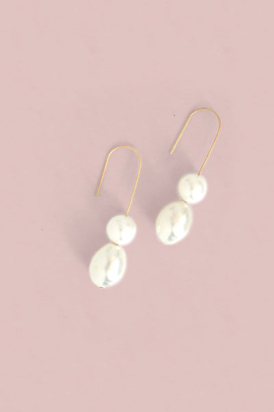 Double Pearl Drop Earrings - Pearl
