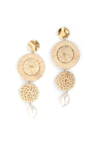 Wicker Drop Earrings - Pearl