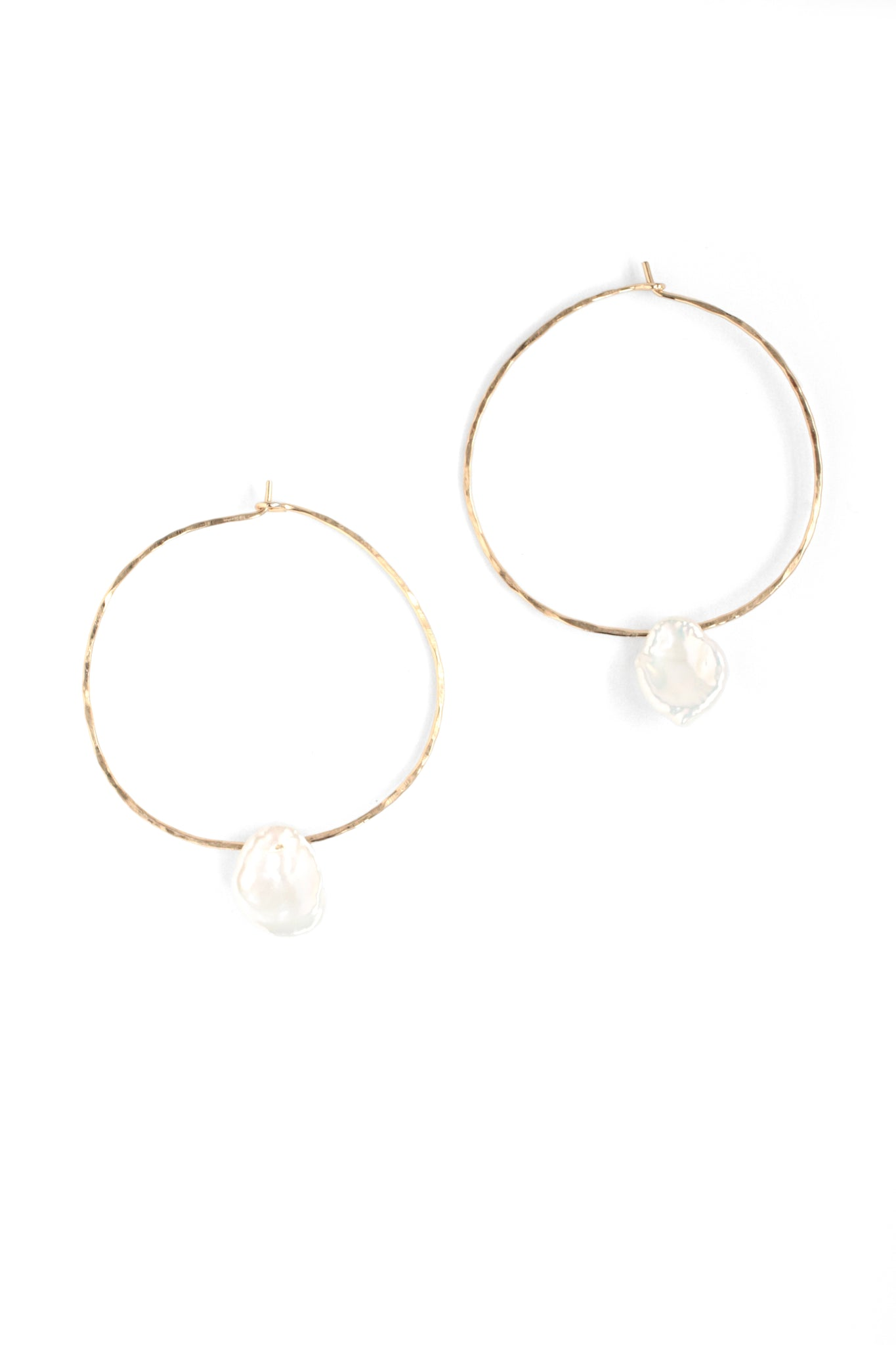 Textured Hoop with Stone - Pearl