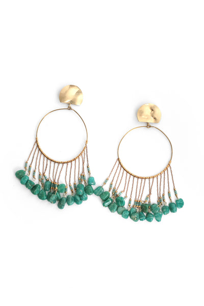 Chandelier Hoop Earrings - Teal